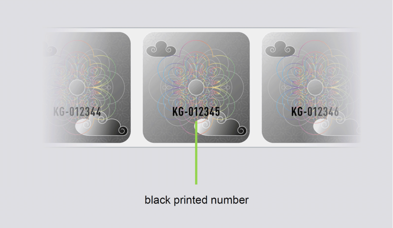 4) Inkjet printing on label rolls black printed numbers onto each KINEGRAM