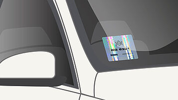 Inside applied windshield label, personalised with laser printer, smartphone readable label, QR code label solution, RFID label, RFID tag, high security label, security hologram label