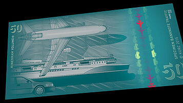 "Sample banknote ""Traffic 50"" with KINEGRAM VOLUME stripe, combined with partially metallized KINEGRAM"