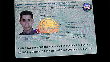 Morocco passport with  laminated KINEGRAM TKO