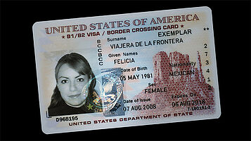 US border crossing card with embedded KINEGRAM PCI
