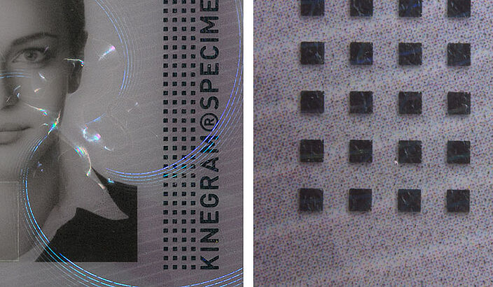 Conventional metallization line thickness 80-100 µm, security hologram, foil technology, foil security, security design for documents, security label, OVD Kinegram invention, OVD Kinegram innovation, KINEGRAM technologies