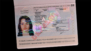 Bulgarian passport with laminated KINEGRAM TKO